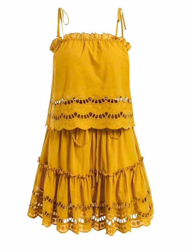 'Luvy' Eyelet Frilled Tied Dress Two-set