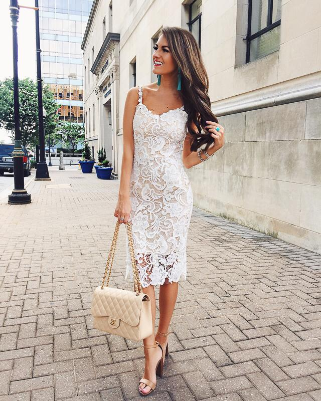 'Annabelle' Crochet Lace Bustier Midi Dress