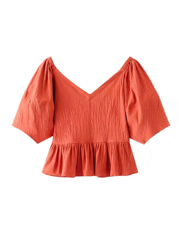 'Allison' V-neck Button Front Ruffled Top