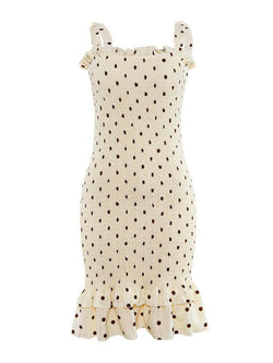 'Taylor' Dotted Ruffled Strap Midi Dress