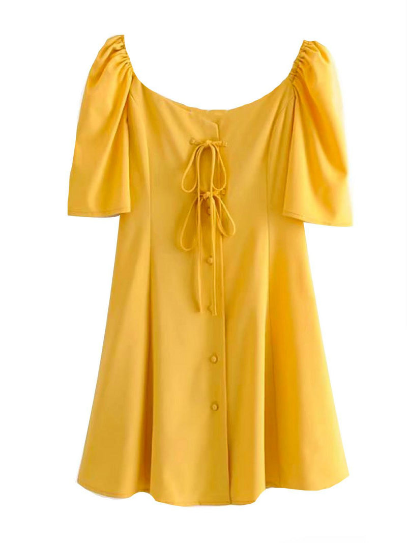 'Nahlah' Button Front Tied Mini dress (2 Colors)