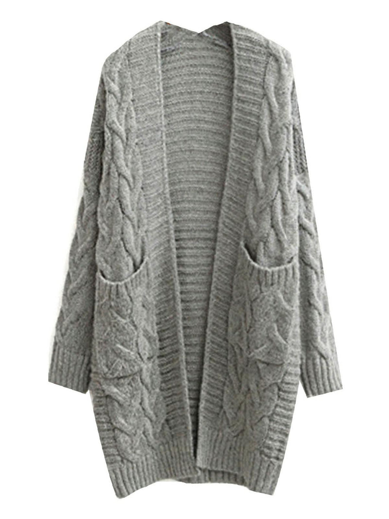 'Ellen' Long Cable Knit pocket cardigan (4 colors)