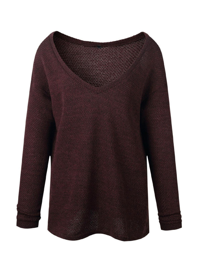 'Susann' Deep V-neck Loose Knitted Sweater (8 Colors)