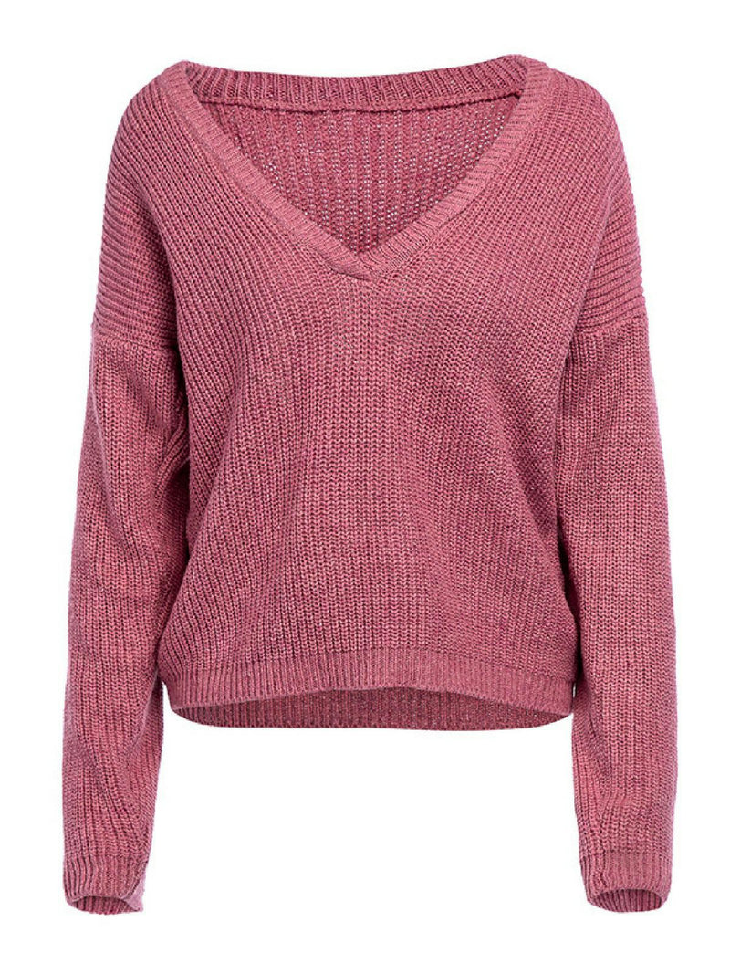 'Stacie' Deep V-neck Knitted Sweater (6 Colors)