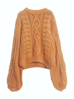 'Allison' Knitted Round Neck Hollow Sweater (2 Colors)