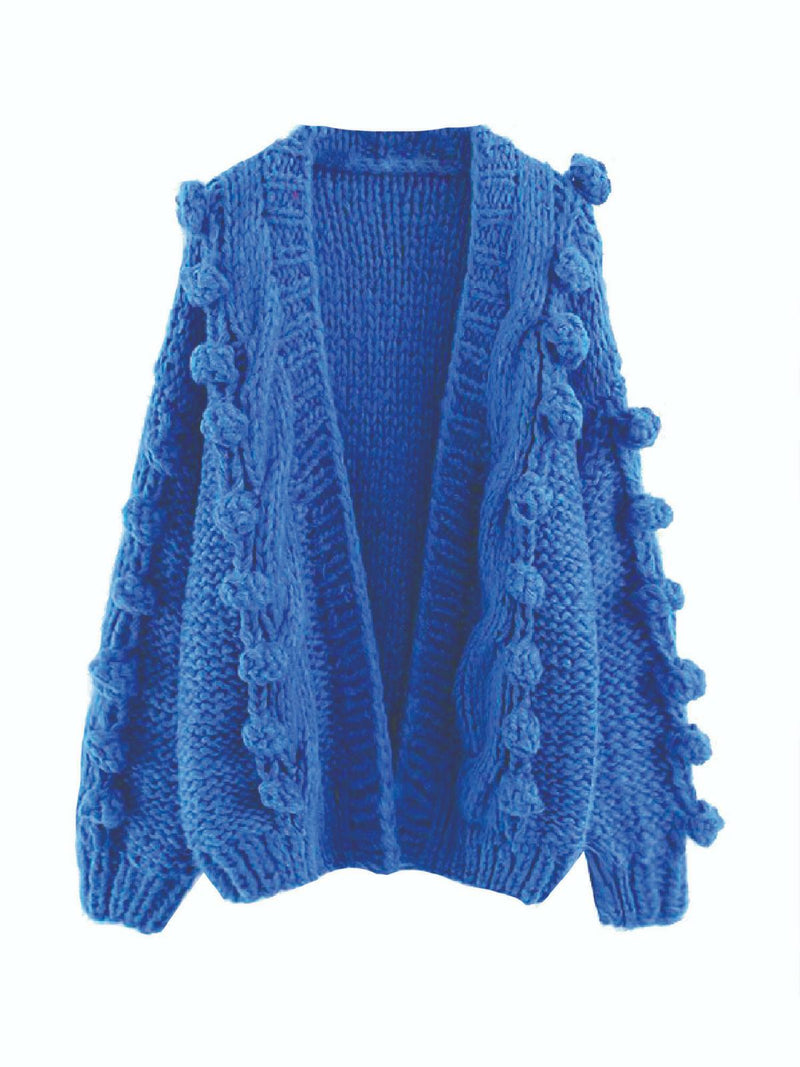 'Hillary' Pom Pom Knitted Open Cardigan (4 Colors)