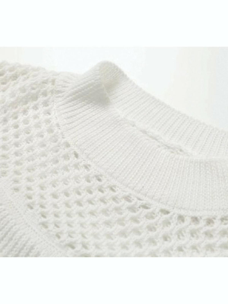 'Ashlen' Knitted Flared Sleeve Hollow Sweater (2 Colors)
