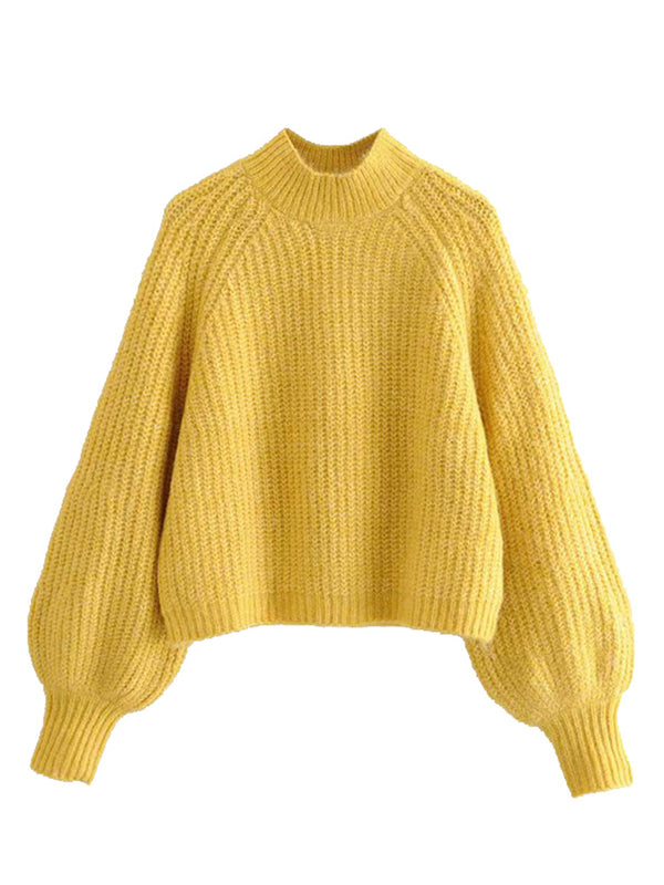 'Kaylee' Crewneck Balloon Sleeve Knit sweater(3 Colors)