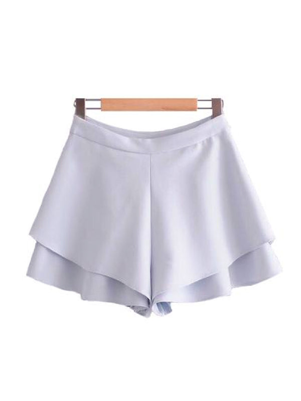 Goodnight Macaroon 'Abi' Crepe Frill Shorts Front