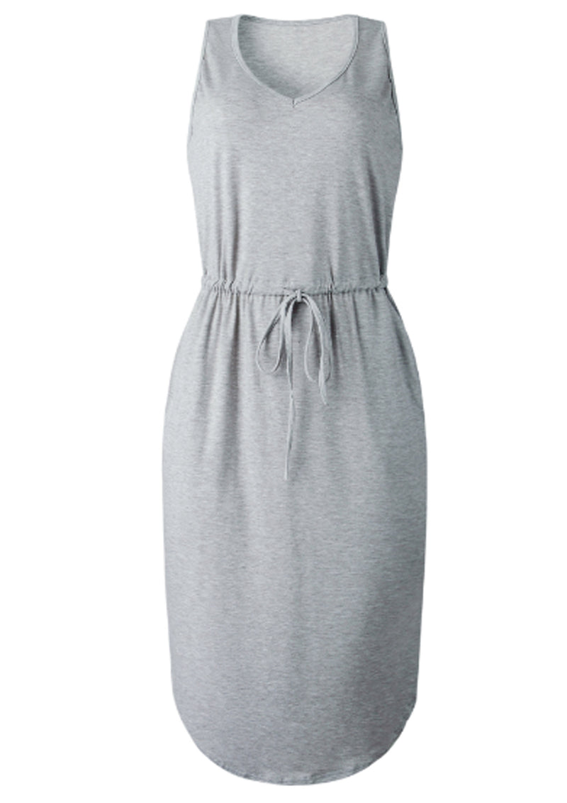 'Lauren' V-neck Tie Waist Sleeveless Midi Dress with Pockets (3 Colors)