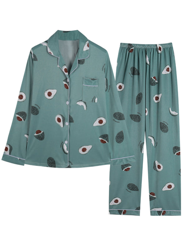 'Eliana' Avocado Button Down PJ Set