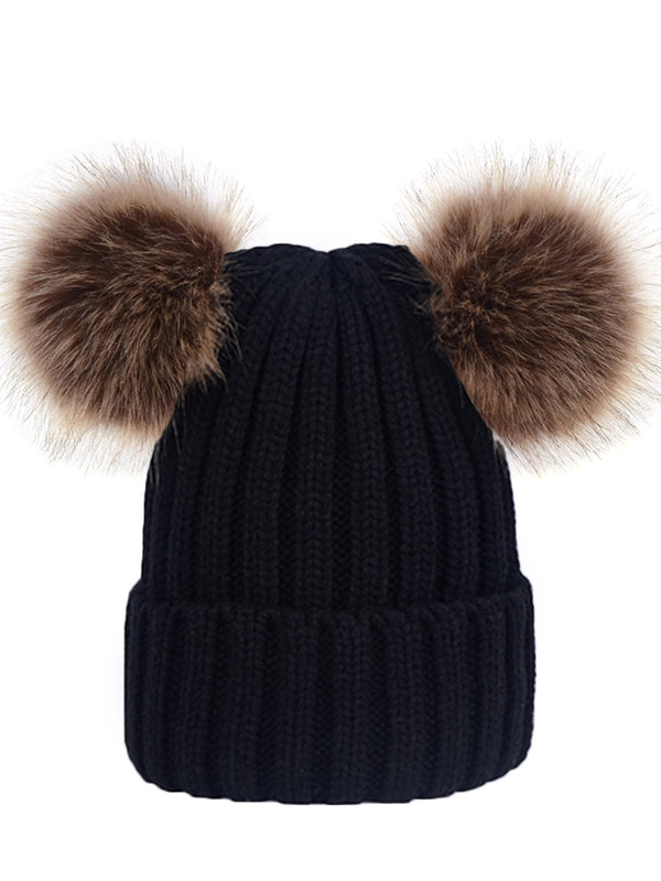 'Emery' Ribbed Knit Pom Pom Beanie (5 Colors)