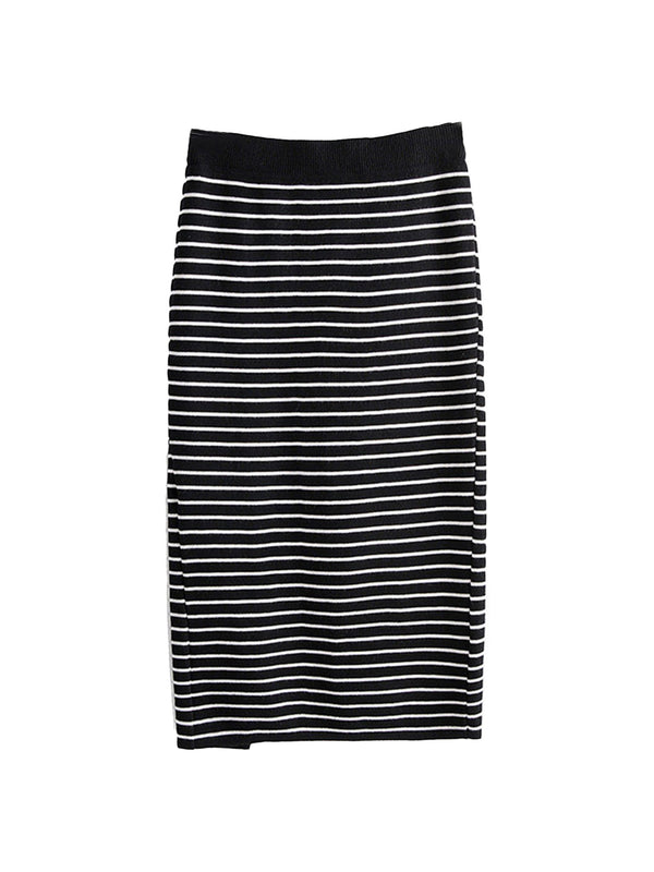 'Garnet' Striped Knitted Midi Skirt