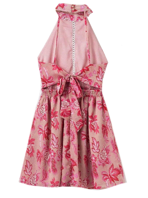 Goodnight Macaroon 'Ria' Halter Neck Floral Pink Midi Dress Pink Back