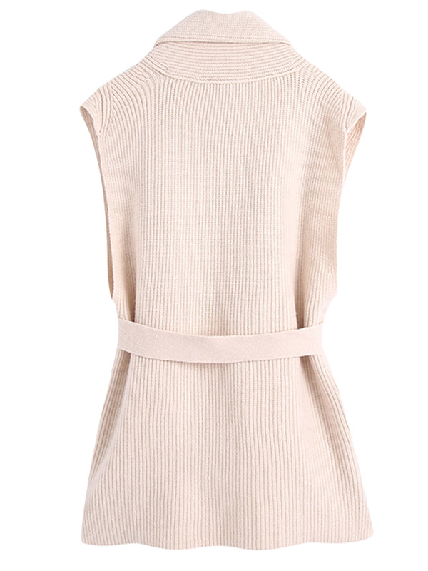 'Cora' Cream Knitted Vest with Waist Tie