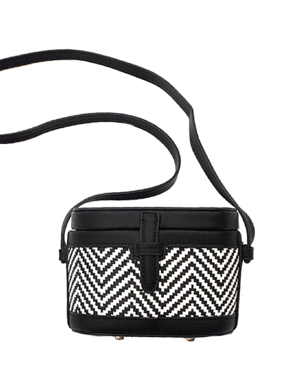 'Kiera' Two Tone Chevron Shoulder Bucket Bag