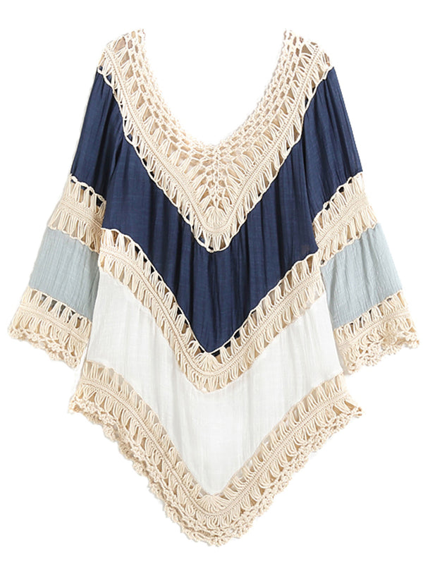 'Rachel' Colorblock Crochet Beach Cover Up (2 Colors)