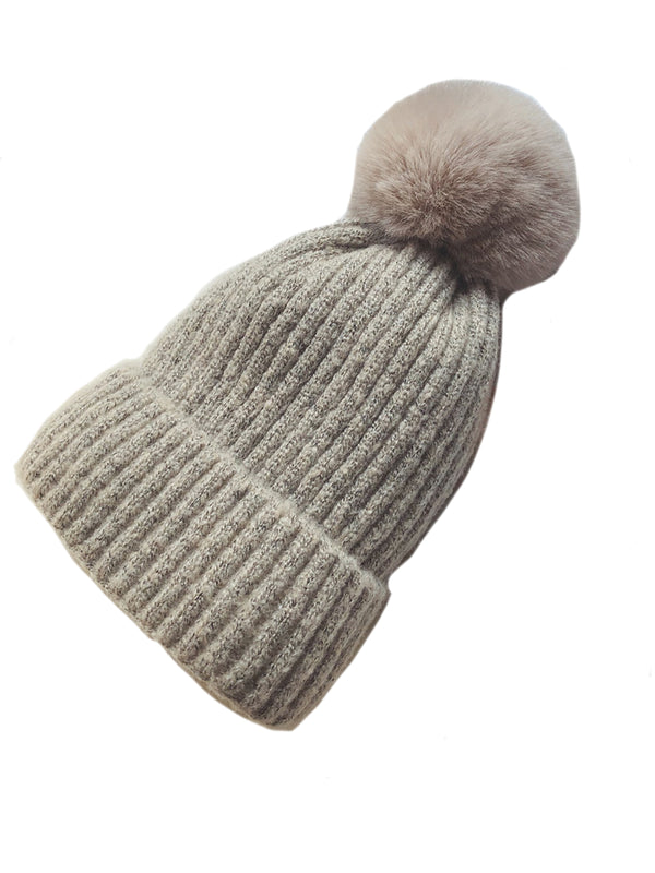'Nicole' Fleece-lined beanie with Pom Pom (6 Colors)