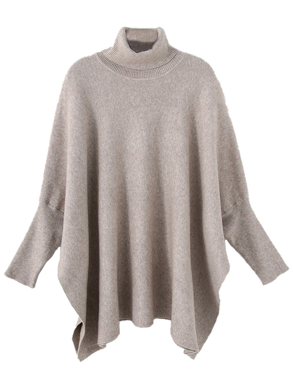 'Cora' Roll Neck Batwing Relaxed Cape Sweater (4 Colors)