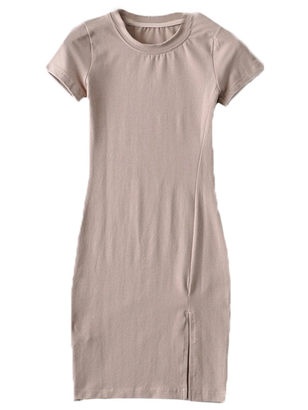 'Cassidy' Round Neck Fitted T-shirt Dress with Slit (4 Colors)