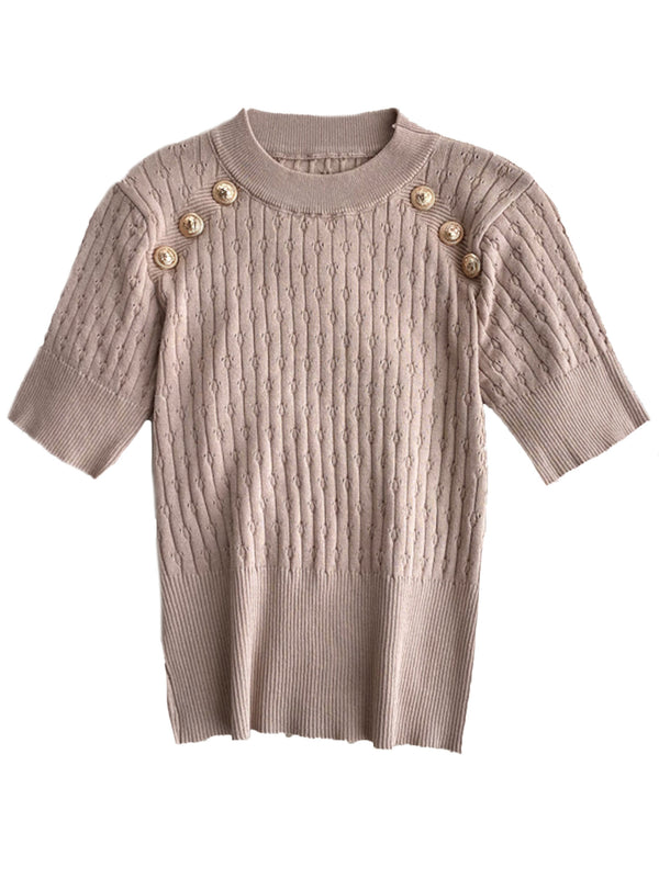 'Teresa' Crewneck Buttons Short Sleeves Cable Knit Top (5 Colors)