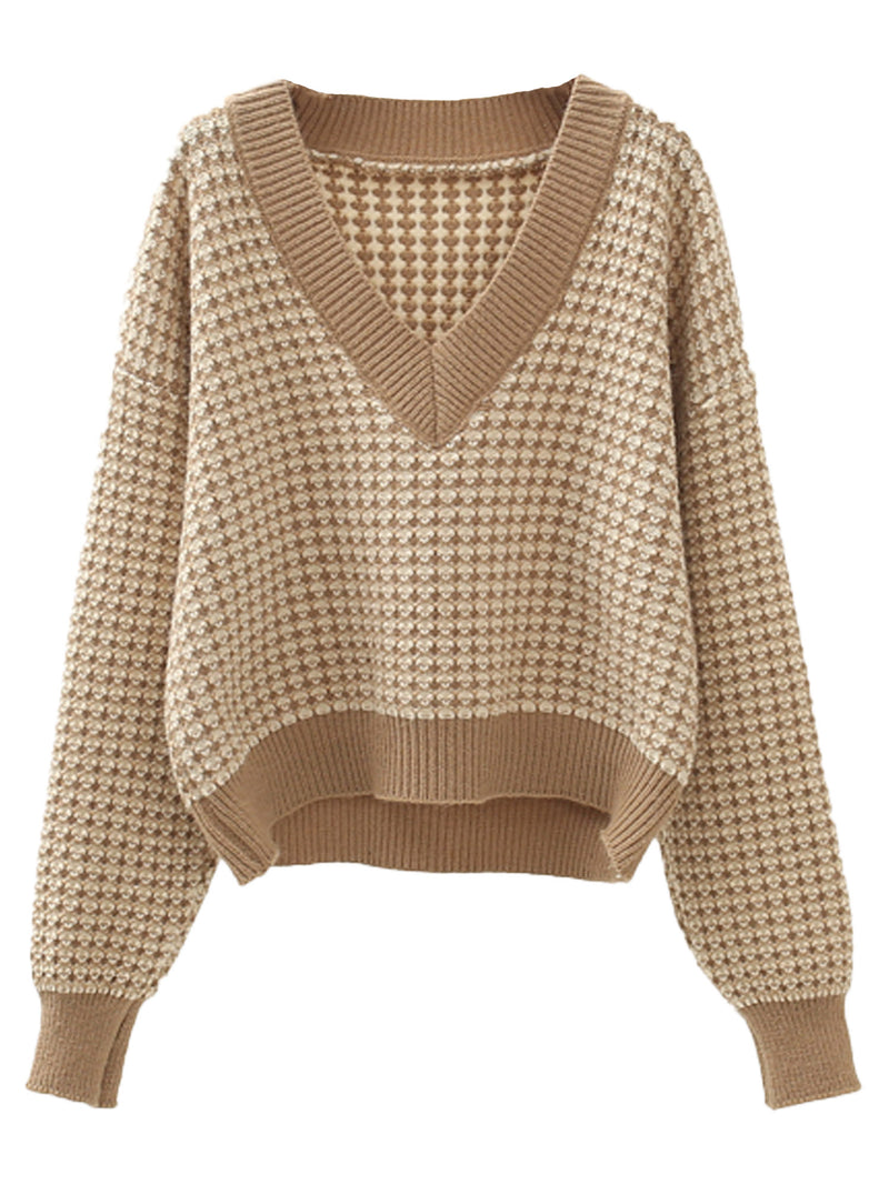 'Fiona' V-Neck Pattern Knit Sweater (3 Colors)