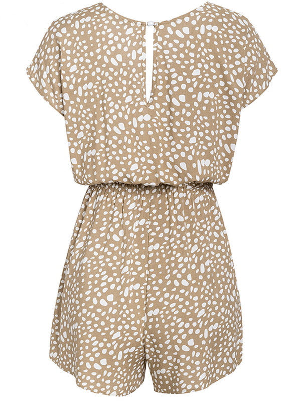 'Willow' Beige Dotted Print Front Tie Romper