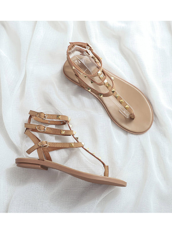 'Ruth' Rockstud Ankle Strap Sandals (2 Colors)