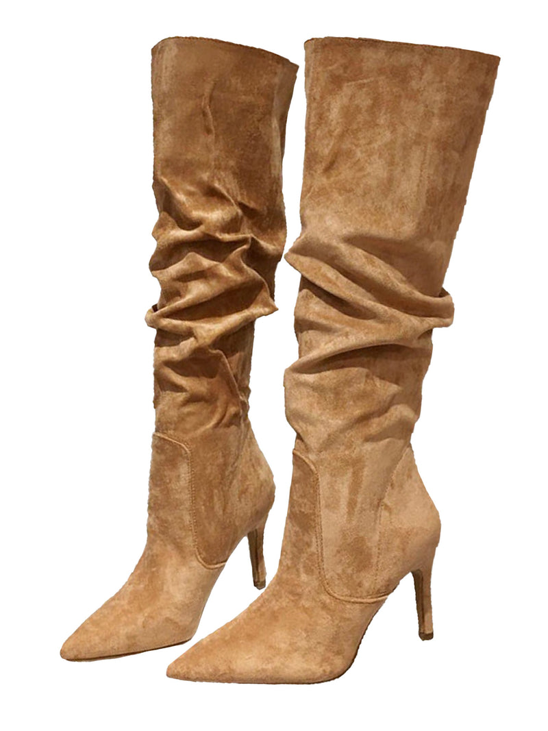 'Jacey' Slouchy Faux Suede Knee High Boots (2 Colors)