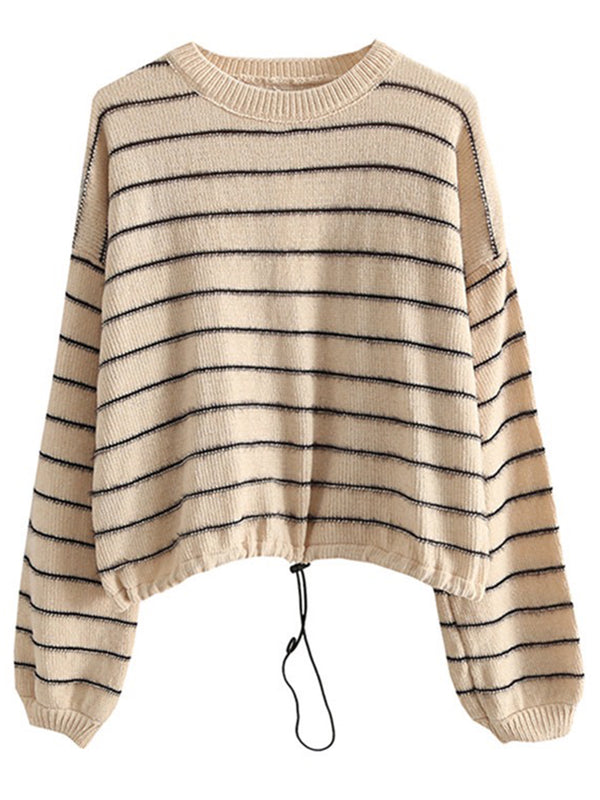 'Meghan' Striped Chenille Crewneck Sweater with Tie Bottom(4 Colors)