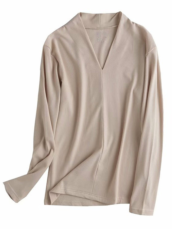 'Tiffany' Ribbed V-Neck Thin Long Sleeve Top (6 Colors)