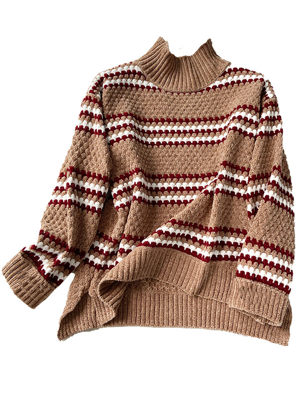 'Katrina' High Neck Striped Soft Chenille Sweater (4 Colors)