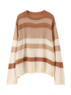 Goodnight Macaroon 'Bethany' Brown Stripes Mohair Crewneck Sweater Front