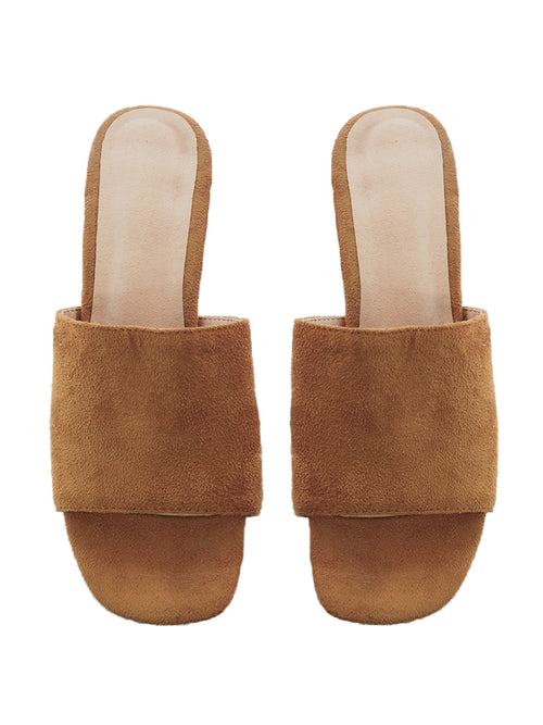 'Betsy' Cognac Suede Leather Heeled Mules
