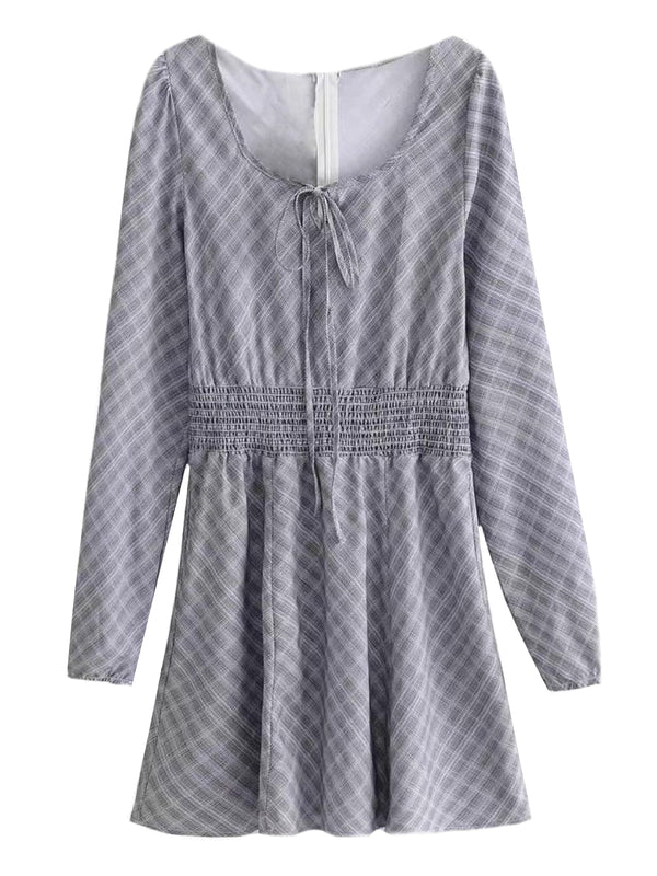 'Bev' Checked Ruched Waist Mini Dress (2 Colors)