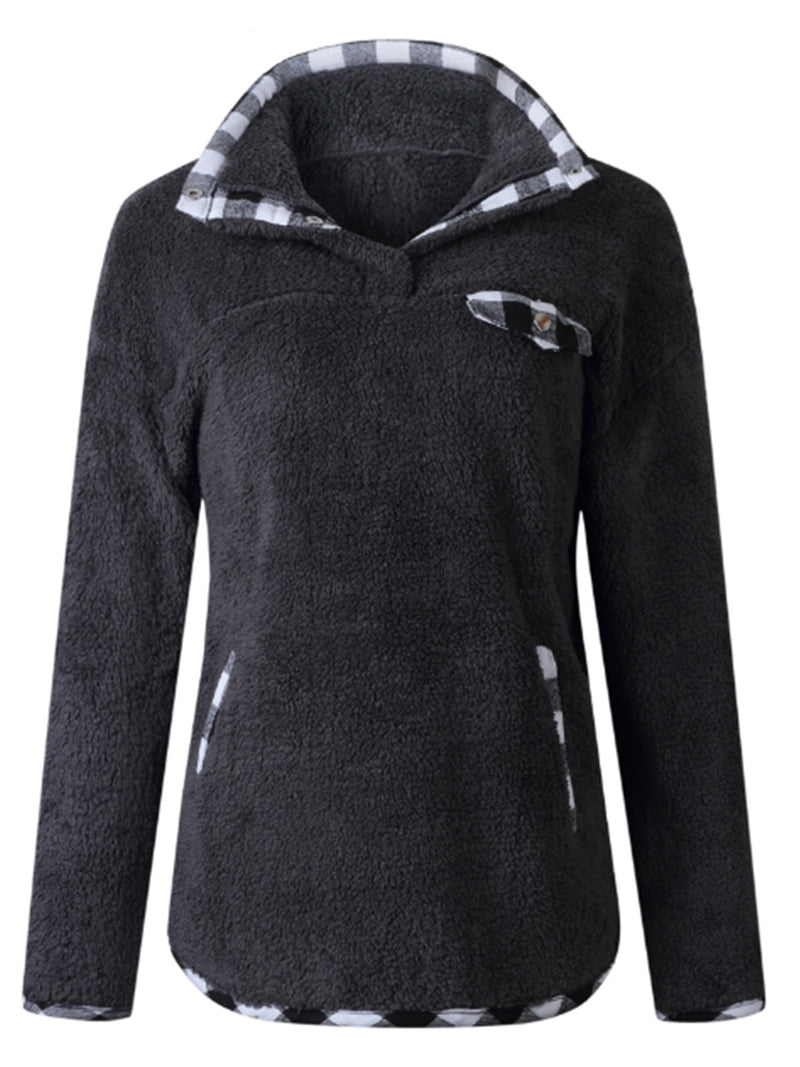 'Navaeh' Plaid Trim Fleece Pullover (2 Colors)