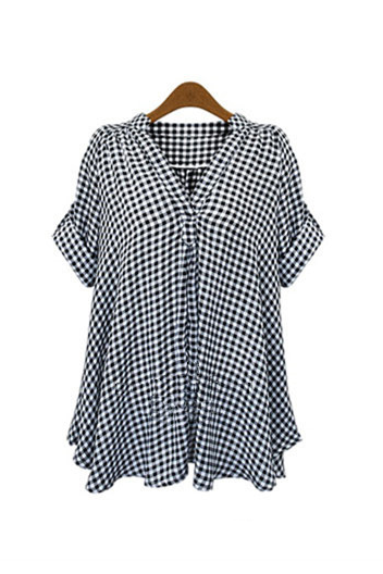 'Estelle' Relaxed Fit Boho Black Plaid Shirt - Goodnight Macaroon