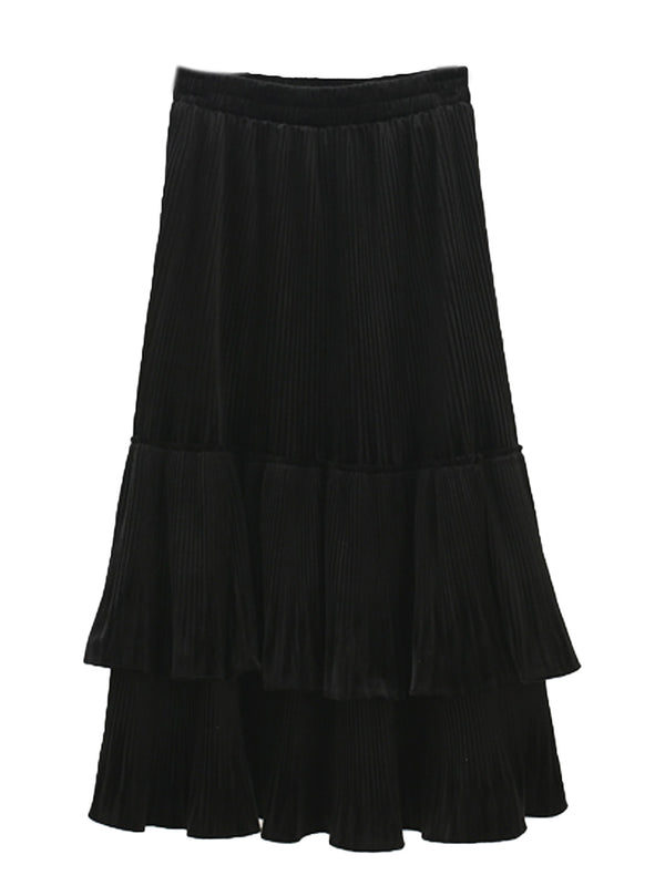 'Chloe' Pleated Velvet Tier Midi Skirt (2 Colors)