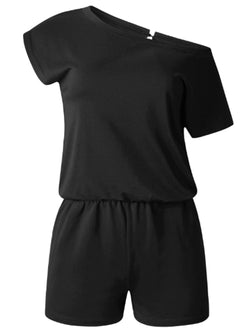 'Zoey' Short Sleeve Off-the-Shoulder Basic Romper (4 Colors)