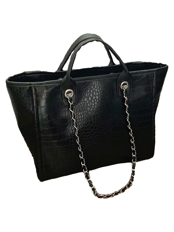 'Hazel' Faux Croc Pattern Shoulder Tote (3 Colors)
