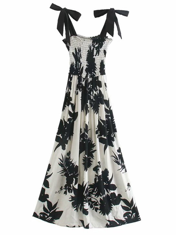 'Eliana' Ruched Black & White Floral Maxi Dress