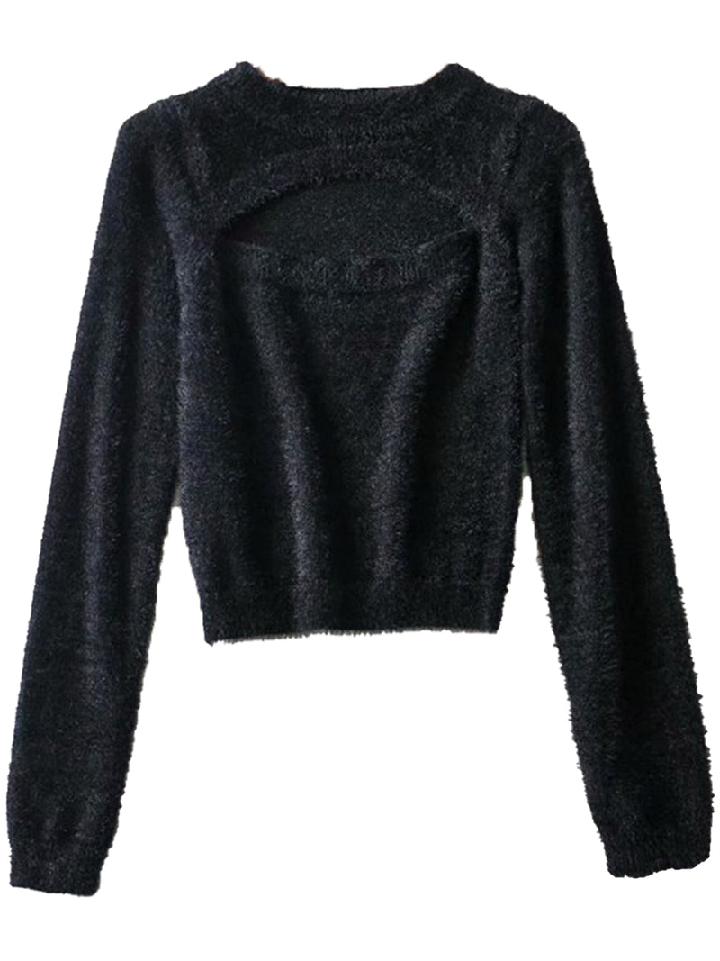 'Posie' Cut Out Fuzzy Sweater (4 Colors)