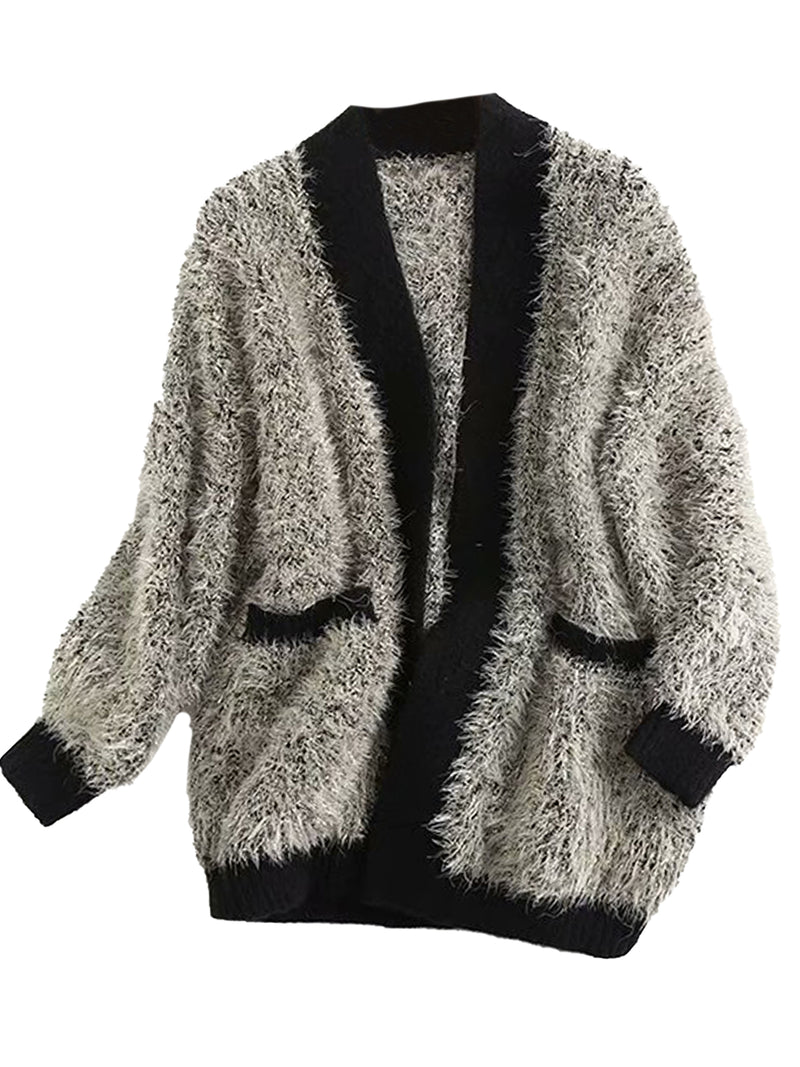 'Gianna' Contrast Trim Fuzzy Open Cardigan (3 Colors)