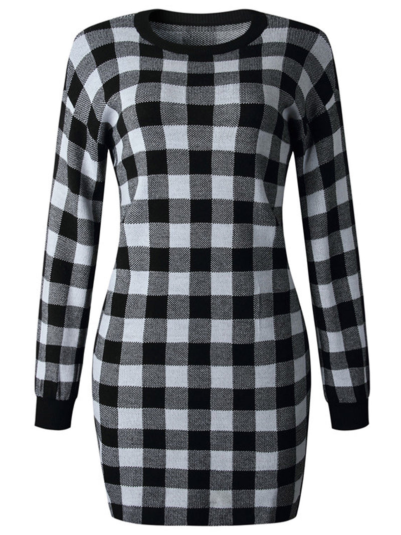 'Vivian' Checked Crewneck Sweater Dress (3 Colors)