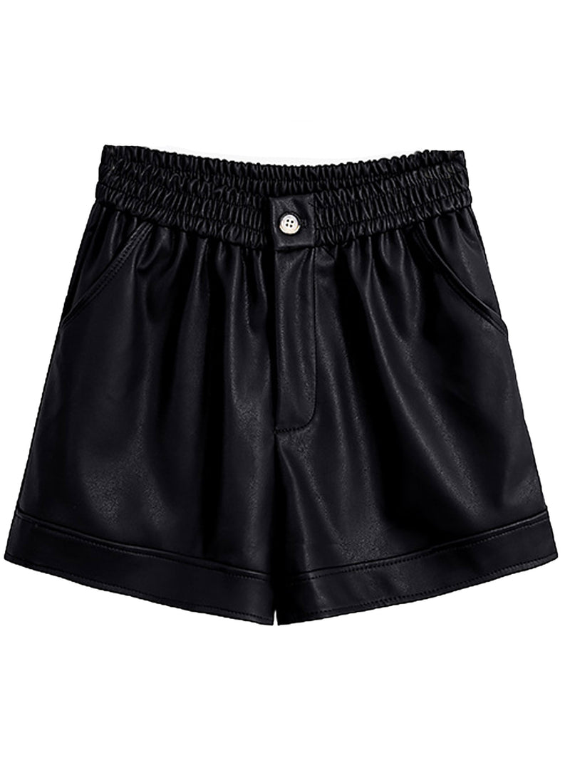 'Janice' Faux Leather Button Shorts (5 Colors)