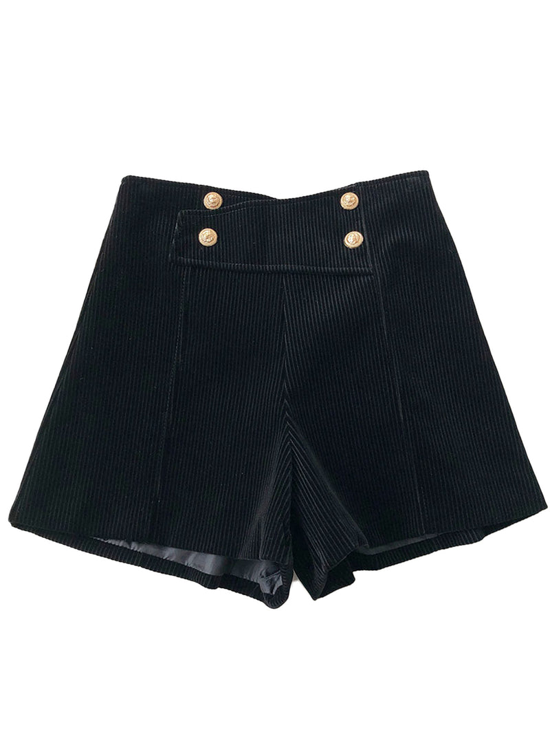 'Nicky' Corduroy Button High Waisted Shorts (3 Colors)
