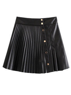 'Takisha' Faux Leather Pleated Skirt (2 Colors)