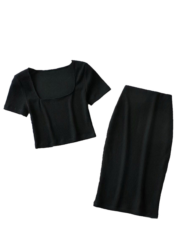 'Jasmine' Ribbed Square Neck Cropped Top & Skirt Set (4 Colors)