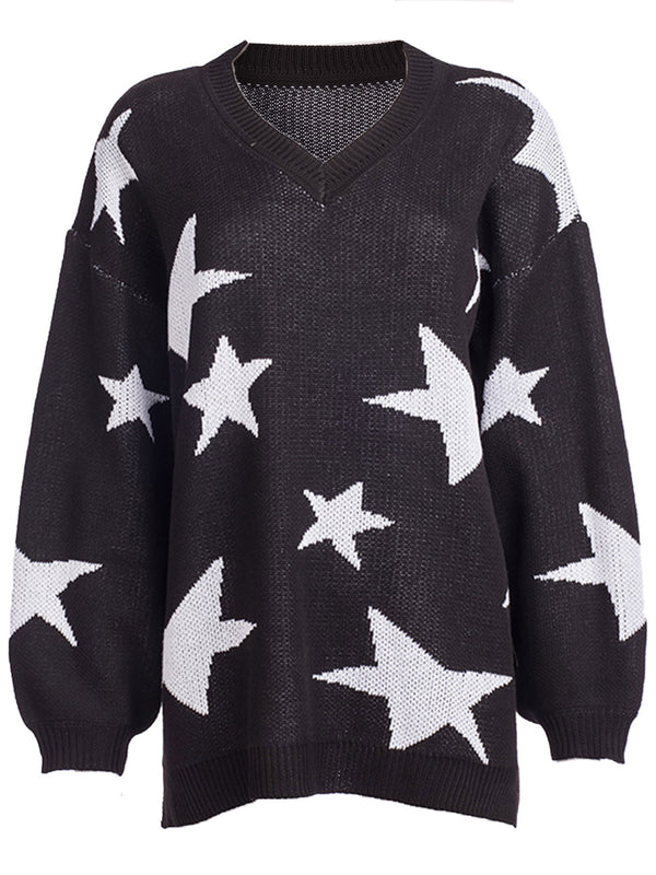 'Jennifer' Star Print V-neck Long Sweater (2 Colors)