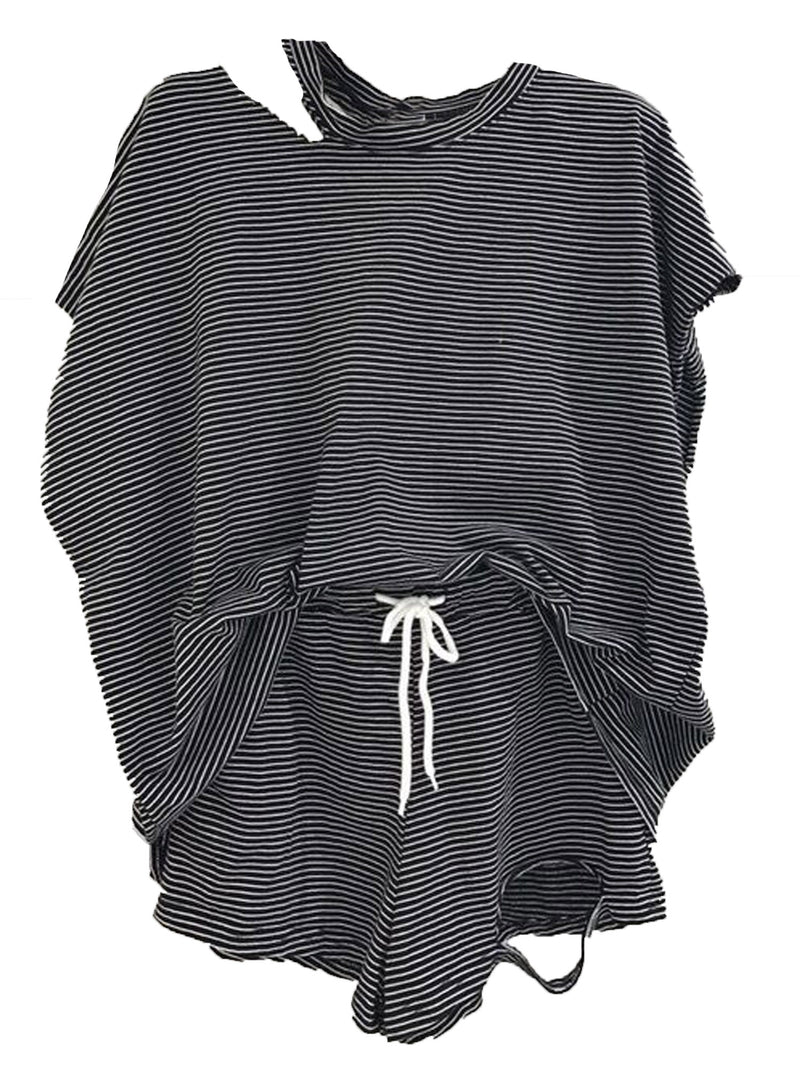 'Arya' Striped Distressed Short Sleeves T-Shirt and Shorts PJ Set (3 Colors)
